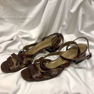 Yves Saint Laurent Brown Croc Leather Sandals Sz 8